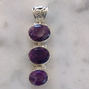 Amethyst 3 stone faceted pendant